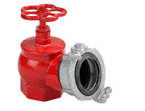 Iron hydrant valve with socket for connection of fire hose. Stock Images
