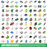 100 iron icons set, isometric 3d style. 100 iron icons set in isometric 3d style for any design vector illustration Royalty Free Stock Photos