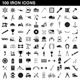 100 iron icons set, simple style. 100 iron icons set in simple style for any design vector illustration Royalty Free Stock Photo