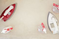 Ironing board Iron and water royalty free stock photography