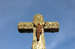 Iron Jesus on Crucifix Royalty Free Stock Photography