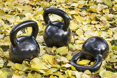 Iron  kettlebells outdoors Stock Photo