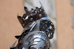 Iron king. Head of an iron statue  of a horse rider in the historic city of Briancon, France Stock Photo