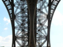 Iron lace. Picture of part of Eiffel Tower from unusual angle. Looks like lace. Picture is taken in Paris, France stock photography