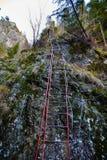 Iron ladder on mountain wall Royalty Free Stock Image