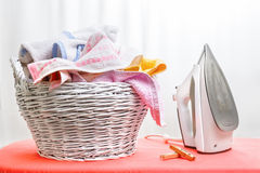 Iron and laundry Royalty Free Stock Image