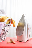 Iron and laundry Stock Photography