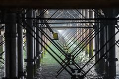 Iron leg structure framework of Southend Pier in the Thames Estuary, UK royalty free stock photos