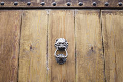 Iron lion door Royalty Free Stock Image