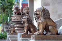 Iron lion statues. In Chinese temple stock photo