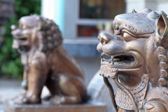 Iron lion statues. In Chinese temple stock images
