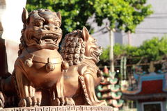 Iron lion statues in Chinese temple Stock Photos