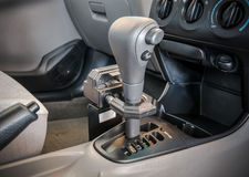 Iron lock on automatic gear shift Royalty Free Stock Photo