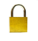 Iron lock  isolated on white Royalty Free Stock Photos
