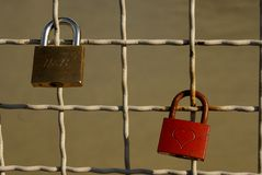 Iron locks - symbol of endless love Royalty Free Stock Image