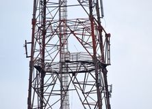 Network transmission tower stock. The iron made telecommunication network tower transmission part isolated object royalty free image royalty free stock photos