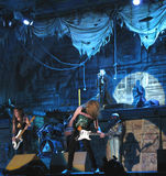 Iron Maiden on tour -. Iron Maiden on tour 2008 - Somewhere back in time - August 4th, 2008 - Bucharest, Romania - Steve Harris, Bruce Dickinson, Dave Murray Royalty Free Stock Image