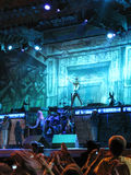 Iron Maiden on tour -. Iron Maiden on tour 2008 - Somewhere back in time - August 4th, 2008 - Bucharest, Romania - Steve Harris, Bruce Dickinson, Dave Murray Stock Photography
