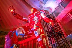 Iron Man Character. Tokyo, Japan - April 20, 2017: low angle view of gigantic statue of Iron Man of Marvel Age of Heroes Exhibition at Mori Tower in Roppongi Royalty Free Stock Images