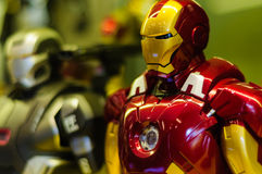 Iron Man Figurine. Realistic figurine of Iron Man comic character on a sophisticated toy and collection shop Stock Photo