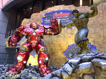 Iron man Hulkbuster VS Hulk in The Avengers: Age of Ultron. 1:1 scale Hulkbuster VS Hulk display in Hong Kong in 2015 Stock Photography