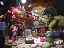 Iron man Hulkbuster VS Hulk in The Avengers: Age of Ultron. 1:1 scale Hulkbuster VS Hulk display in Hong Kong in 2015 Royalty Free Stock Photography