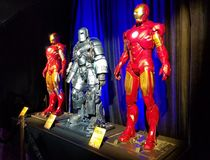 Iron Man suits worn by Robert Downey Jr. royalty free stock photos