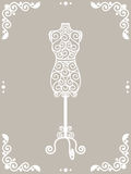 Iron mannequin. Vintage wrought iron mannequin in floral frame vector illustration