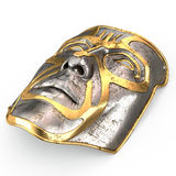 Iron mask on face, with gold inserts on isolated white background. 3d illustration Stock Photography