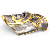 Iron mask on face, with gold inserts on isolated white background. 3d illustration Royalty Free Stock Photography