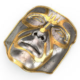 Iron mask on face, with gold inserts on isolated white background. 3d illustration Royalty Free Stock Images