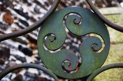 Wrought iron. It is an iron material that has the property of being able to be forged and hammered when it is very hot Royalty Free Stock Images