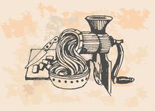 Iron Meat Grinder, retro illustration Royalty Free Stock Photos