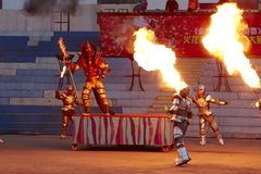 Free Iron Men Team Fighting Performance Stock Photo - 123345930