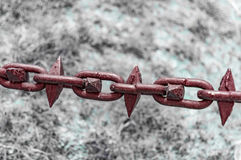 Iron metal links for safety. With spikes royalty free stock image