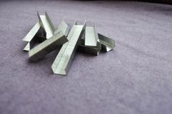 Iron, metal, silvery staples stock photos