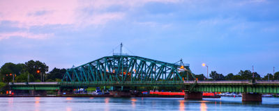 Iron and Metal Swing Truss Automobile Bridge Royalty Free Stock Photography
