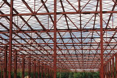Iron metallic framework. Red metallic iron framework against the sky Royalty Free Stock Images