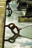 Iron mooring rings and ropes Royalty Free Stock Photos