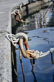 Iron mooring rings and ropes Stock Photo
