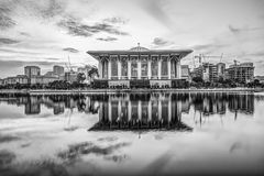 The Iron Mosque, Malaysia In Black And White Royalty Free Stock Image