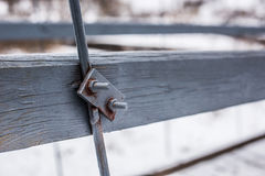Iron mount bridge. With a rope, using bolts and nuts Stock Images