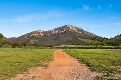 Iron Mountain in Poway, California. The second highest peak in the city, with the Iron Mountain Trail being the longest wilderness trail in the city stock images