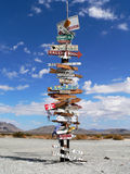 The Iron Mountain Sign Pole. On CA-Hwy 62 in the Mojave Desert Royalty Free Stock Image