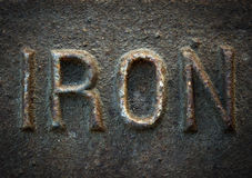 Iron. Old rusty iron sign set in actual iron Stock Photography