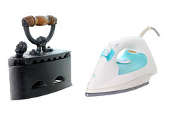 Iron one. The evolution in the time of the ironing Stock Photos