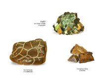 Iron ore. Varieties of iron ore in nature: meteoritic iron, goethite, pyrites, iron carbonate, siderite ore. Types of iron ore products used in the steel Royalty Free Stock Image