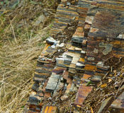 Iron ore deposits. The discovery of iron ore in Ukraine, mineral deposits. Ferroginous stone structure on the mountains of Krivoy Rog Metallurgical pool stock images