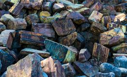 Iron ore mineral rich cut ornamental stone royalty free stock photo