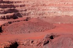 Iron ore mining. Large, open-pit iron ore mine showing the various layers of soil and iron rich ore Royalty Free Stock Photos